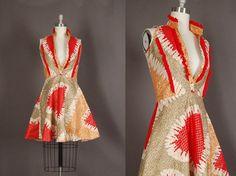 vintage 1960s dress 60s dress full skirt gold by NodtoModvintage, $90.00