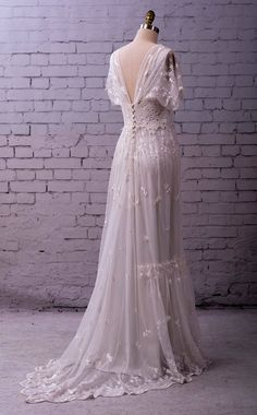 Vintage Wedding Dresses Lace Wedding Gown embroidered tulle with sleeves buttons Wedding Dress Empire, Wedding Dress Black, Tea Length Wedding Dress, Wedding Dresses Plus Size, Princess Wedding Dresses, Dream Wedding Dresses, Bridal Dresses, Modest Wedding, Tulle Wedding