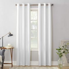 Montego Casual Textured Grommet Curtain Panel White - No. Size: 48 x 108 Sheer Curtain Panels, Rod Pocket Curtains, Grommet Curtains, Sheer Curtains, Curtain Fabric, Window Curtains, Velvet Curtains, Curtain Rods, Colorful Curtains
