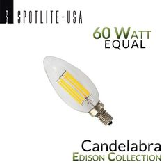 Spotlite USA Edison Collection Vintage LED Candelabra Filament Bulb - 6 Watt - 60 Watt Equal, 550 lumens, 2700k temperature, yearly cost $0.96 (3 hours a day/$.11per hr),  15,000 hours projected life
