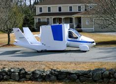 """Car/Plane Hybrid Puts You In The Cockpit - The Transition by Terrafugia (Latin for """"escape the earth"""") is a street-legal airplane that is now a significant step closer to being a commercial reality. The two seat personal aircraft is capable of driving on roads and highways, parking in a single car garage, and flying with unleaded automotive fuel. (via incrediblethings.com) #Terrafugia #HybridPlane"""