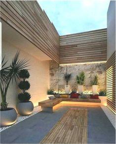beautiful side yard and backyard gravel garden design ideas 9 Sloped Backyard, Small Backyard Gardens, Backyard Patio Designs, Small Backyard Landscaping, Modern Backyard, Modern Landscaping, Outdoor Gardens, Landscaping Design, Patio Ideas