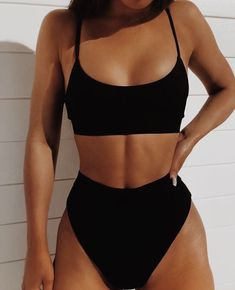 WorthTryIt offers high waisted swimwear online for sale for women at lowest price. Buy high waisted bikini bottoms with solid color and strappy crop top; high waist high cut bikini set with free delivery. Bikini Noir, Bikini Modells, Strap Bikini, Crop Top Bikini, Sporty Bikini, Scrunch Bikini, Bikini Poses, Sexy Bikini, Cute Swimsuits