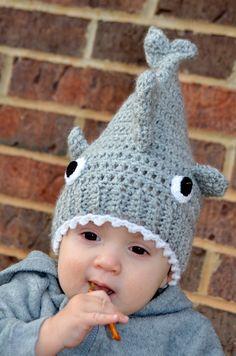 Crocheted Child's Shark Beanie Hat by EsplinHooks on Etsy, $20.00