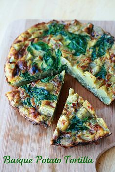 Basque Potato Tortilla from Dorie Greenspan's Around My French Table...made with sweet potatoes & spinach