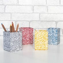 A practical pen or pencil pot available in four lovely hand drawn chevron designs. All our beautiful handmade stationery and storage products are produced in an eco-friendly way, from 100% recycled materials.