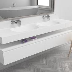 Stunning Corian double washbasin with gradient sink for sleek drainage. Corian Sink, Sink Countertop, Small Bathroom Storage, Bathroom Organisation, Narrow Bathroom, Solid Surface, Tennessee, Bathroom Design Inspiration, Design Ideas