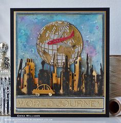 I& just popping by today to share a couple of cards that I designed exclusively for the July issue of Making Cards Maga. Art Journal Prompts, Journal Cards, Art Journaling, Tim Holtz Dies, Sizzix Dies, Cat Cards, Men's Cards, Greeting Cards, Travel Cards