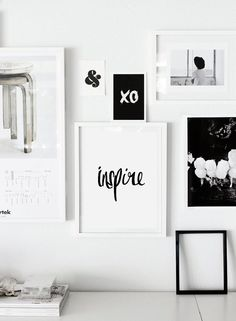 """Printable Typography Art Inspirational Quote """"Inspire"""" Black and White Handwriting Style Motivation Home Decor Wall Instant Download Digital on Etsy, $9.00"""
