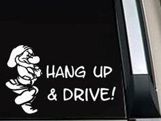 "Amazon.com: Grumpy ""Hang Up & Drive!"" Car Decal Sticker 5""L x 8""W: Automotive"