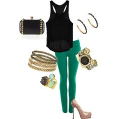 , created by makieaw St. Patty's outfit built around beautiful accessories! patricks day outfit green pants Designer Clothes, Shoes & Bags for Women Green Skinnies, Green Pants, Green Shirt, Love Fashion, Fashion Outfits, Womens Fashion, St Patrick's Day Outfit, Outfit Summer, Mardi Gras Outfits