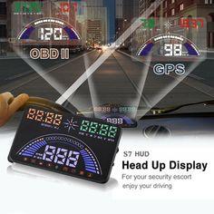 S7 5.8inch Car OBD2 HUD Head Up Display GPS Speedometer MPH/KMH OverSpeed Alarm Vehicle Speeding Warning