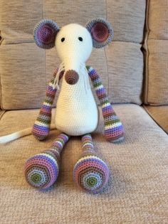 Amigurumi mouse made using a Stip and Haak pattern