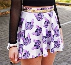 """High waisted mini skirt White with a purple cat pattern Skater style  Size: One Size (suitable for XS/S/M/L) Waist: 40.60"""" Length: 14.57""""  Shipping: Ships within 1-7 business days.  Delivery for this item takes 5-25 business days once shipped."""