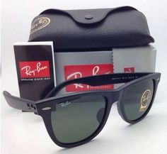 361db1fa3f6 Ray Ban Wayfarer RB2140 901 Green G-15 Gradient Lens Black Frame 54-18 mm  NEW