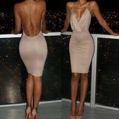 Women Backless Bodycon Sleeveless Party Evening Cocktail Short Mini Dress Club