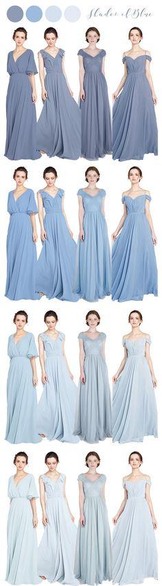 shades of lbue bridesmaid dresses for 2018 #bluewedding #bridalparty #weddingcolors #weddinginspiration