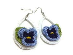 White Crochet Teardrop Earrings with Blue Pansy by JagataraArt