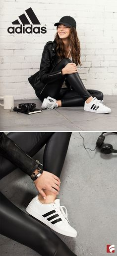 """The adidas Baseline is """"that shoe"""" you want to be seen in. Slip on this classic adidas sneaker with leather-like leggings, a simple white tee and crisp black cap. Finish off the look with a black leather moto jacket. Add a few light and feminine accessories like dainty rings and a long necklace to offset the edgy vibe."""