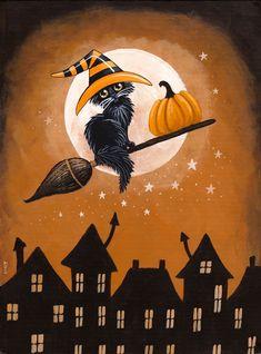 Black Cat Pumpkin Delivery - paint and art Retro Halloween, Spooky Halloween, Halloween Kunst, Halloween Artwork, Halloween Painting, Halloween Wallpaper, Holidays Halloween, Happy Halloween, Halloween Decorations