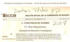 Pruebas Libres. Convocatoria 2018, para conseguir título de Técnico y Técnico Superior de #FormaciónProfesional #FP #Madrid Madrid, Math Equations, Summoning, Baccalaureate, Degree Of A Polynomial