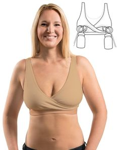 $34.00. Rumina's Relaxed Nursing Bra with Hands-Free Pumping - Nude, XS