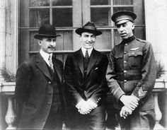 "This  photograph shows three of the most important figures of Ohio aviation. Pictured from left to right are Orville Wright, Edward ""Eddie"" V. Rickenbacker, and Captain Rudolph W. ""Shorty"" Schroeder. (c.1915-1925)"