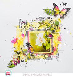 Maska Vanacker for Avery Elle Supplies: Butterflies Clear Stamps & Dies