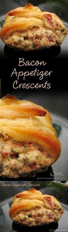 8 Bacon, slices. 1/4 cup Onion. 2 tbsp Parsley. 1 Egg. 2 8-oz. cans Quick crescent dinner rolls, refrigerated. 1 8 oz. package Cream cheese. 1 tbsp Milk. 1/3 cup Parmesan cheese, grated. 1 tsp Water.