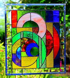 "Stained Glass Window Panel ""Round Round"" Original Design Signed Dated COA 