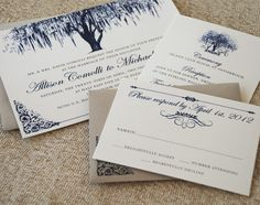 oak tree wedding invite