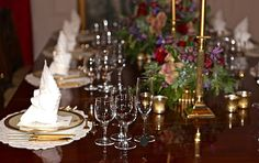 White House table setting; Clinton china.