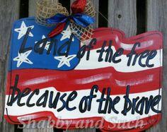 Flag Land of the Free Patriotic Door Hanger Hand Painted Wood Door Decor Wreath