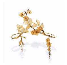 Delicate Art Nouveau tiara (c. with textured gold twigs, apple blossoms, carved horn leaves, pearl buds Bijoux Art Nouveau, Art Nouveau Jewelry, Jewelry Art, Antique Jewelry, Vintage Jewelry, Jewellery, Royal Jewels, Crown Jewels, Hair Jewels