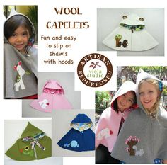 Pixie Capelet Red Riding Hood. Children Cape by ViolaStudio