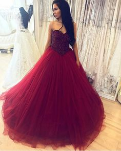 Item Description : A Glamorous Tulle Floor Length Ballgowns Dress Featuring A Sweetheart Neckline With Beaded Corset,Back with lace-up. Perfect For Prom,Quinceanera,Wedding Or Any Other Special Occasions ! Colors Available: Burgundy,Black,White,Royal Blue Size Chart: Dresses Process Time: 14 to 20 days Customized :Yes