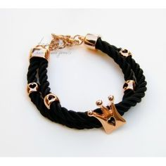 Black Satin Rope & Crown Bracelet #rope bracelet