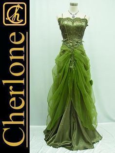 $75  Very fancy    CHERLONE Satin Green Lace Long Prom Ball Wedding Evening Bridesmaid Gown Dress   eBay