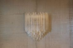 Pair of of large Venini Murano wall sconces with triedri components image 2