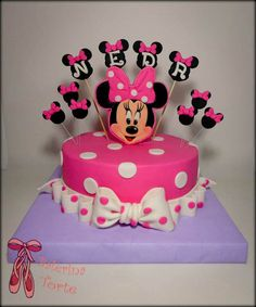 Minnie Mouse Cake – Mini Maus torta by Balerina Torte Jagodina - Mickey Mouse Torte, Mini Mouse Cake, Minnie Mouse Cookies, Minnie Mouse Birthday Cakes, 3 Year Old Birthday Cake, Birthday Cake Girls, Bolo Minnie, Minnie Cake, Ballerina Cakes
