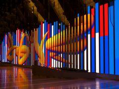 Thirst's John Pobojewski directed the studio in the installation We The People… - MEDIA ART Multimedia Arts, Exterior Signage, Video Installation, Parking Design, Digital Wall, North Riverside, Expo, Landscape Lighting, Media Design