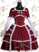 Dark Red Cotton Sweet Lolita Dress