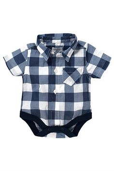Newborn Clothing - Baby Clothes and Infantwear - Next Blue Check Shirt Body