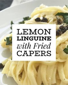 This lemon linguine with fried capers recipe is the perfect easy vegetarian dinner. This healthy pasta dish is simple, and goes wonderfully with a side of garlic bread. #pasta #vegetarian #dinnerrecipes #vegetarianrecipes #lemon #springfood