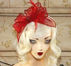 Red Fascinator - Sinamay Fascinator - Wedding Fascinator - Tea Party British Hat - Red Fascinator Headband by MadameMerrywidow on Etsy https://www.etsy.com/listing/218356754/red-fascinator-sinamay-fascinator