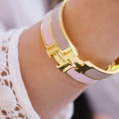 Gold and pastel Hermes bangles