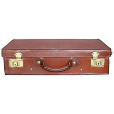Pre-Owned Vintage Brown Leather Suitcase ($425) ❤ liked on Polyvore featuring home, home decor, brown, decorative accessories, brown home decor, leather home decor, vintage home decor and vintage home accessories