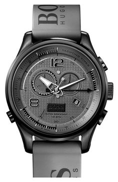 BOSS HUGO BOSS 'Iconic Regatta' Chronograph Silicone Strap Watch, 46mm available at #Nordstrom