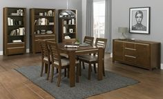 Coastlink Osaka Walnut Extension Dining Set For 6 - Table and Slat Back Chairs Kitchen Dining Sets, Dining Room Sets, Dining Table Chairs, Upholstered Dining Chairs, Kitchen Tables, Kitchen Ideas, Walnut Furniture, Furniture Sale, Dining Room Furniture