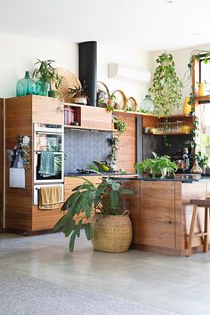 Modern Plant Filled Handmade Furniture Australia Home Tour Küchen Design, Interior Design, Style Tropical, Tropical Kitchen, Kitchen Plants, Plant Covers, Living Room Lounge, Australian Homes, Wooden Kitchen